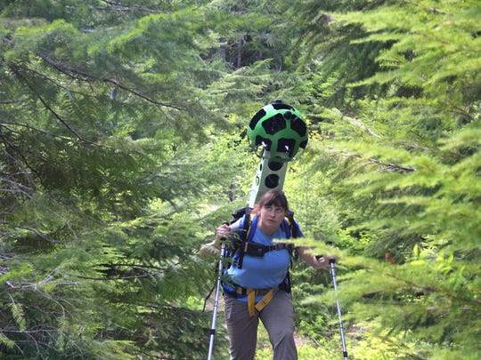 Chandra LeGue of Oregon Wild explores the trails in Crabtree Valley, a remote valley east of Sweet Home, with a Google Trekker on her back.