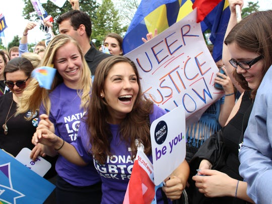 Supporters of same-sex marriage celebrate moments after