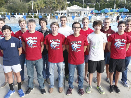 2014 All-Big Bend first team: Front row, from left, Rafi Chambasian (Maclay), Charlie Gallagher (Chiles), Brandon Chason (Chiles), Mauricio Calderon (Chiles), diver Torry Wagner (Lincoln), diver Chase Lane (Chiles) Back row, from left, Wyatt Foote (Chiles), John Yambor-Maul (Chiles), Duncan Sutton (Lincoln), Ty Gulledge (Lincoln), Evan Wilson (Rickards), Thomas Cook (Florida High), Christopher Holmes (Chiles)