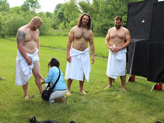 On the photo shoot for ESPN The Magazine's Body Issue are Colts offensive linemen from left, Jack Mewhort, Anthony Castonzo and Todd Herremans.