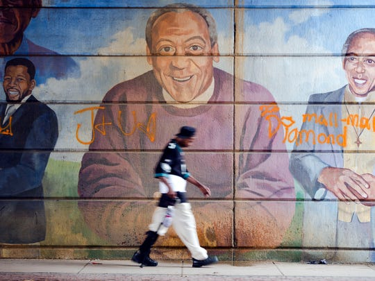 Wall mural featuring Bill Cosby in Philadelphia, seen