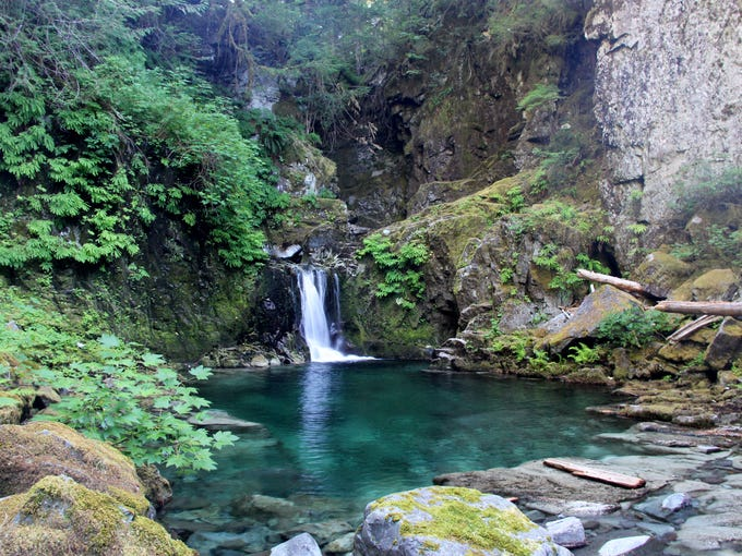 A waterfall and swimming hole on Opal Creek are only