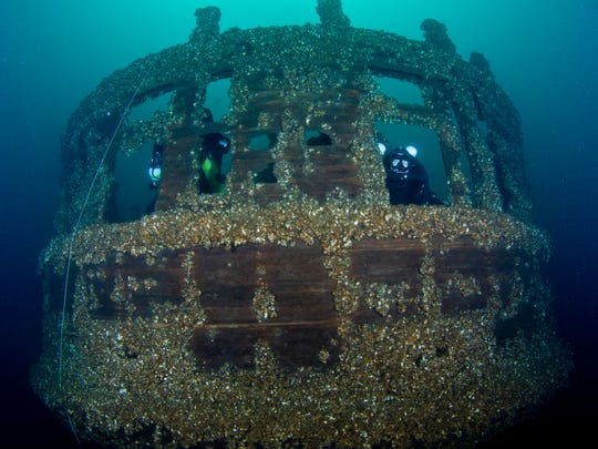 The stern of the steamer Pewabic, which collided with its sister ship Meteor and sank.