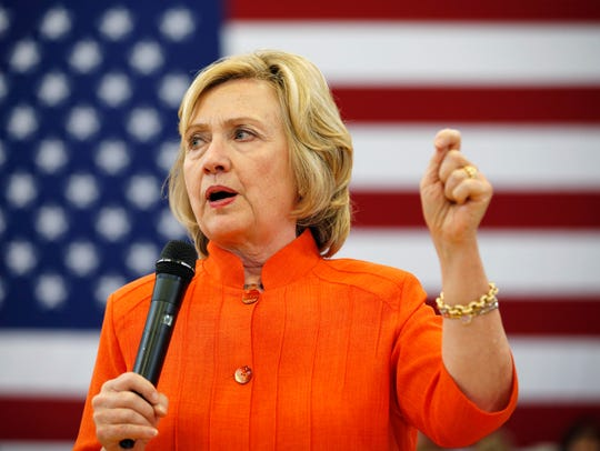 Hillary Clinton speaks at a town hall meeting on Aug.
