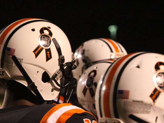 The Hopkinsville helmets have been fitted with a decal