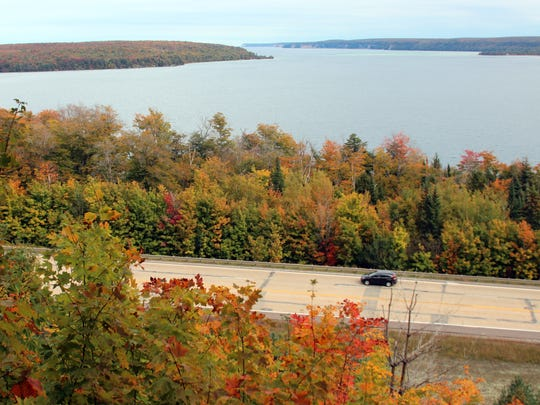 The Grand Island scenic turnout off route 28 north of Munising, Michigan, is high enough that the trees do not yet block the view of Lake Superior.