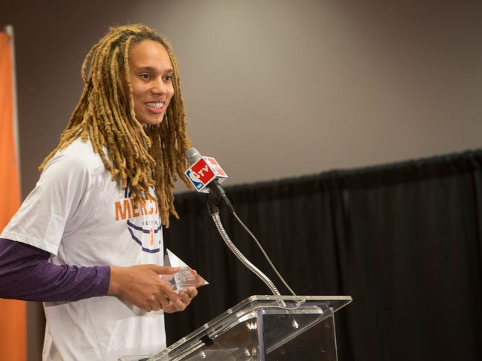 Mercury's Brittney Griner talks to the media about