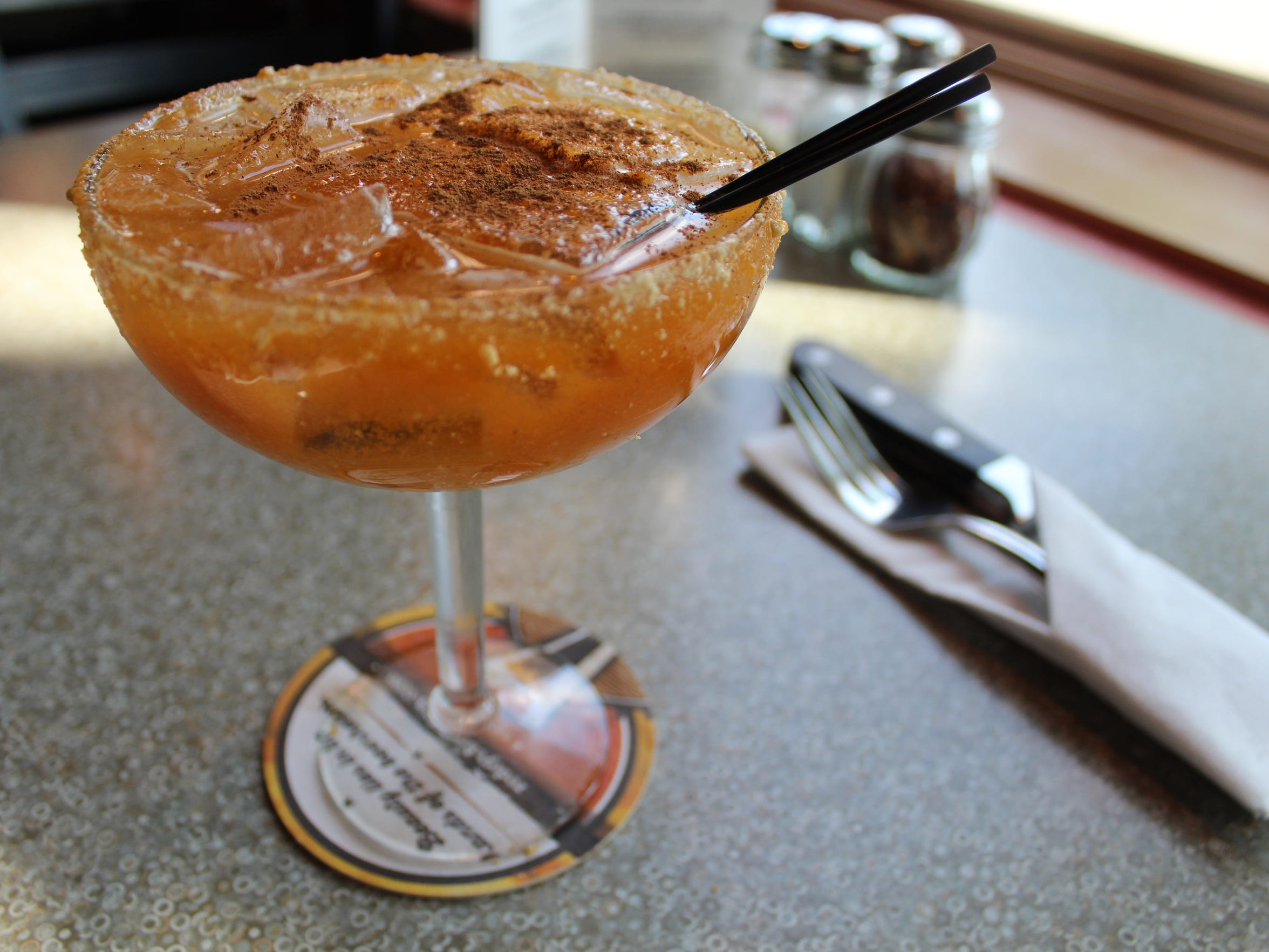 Pictured is a 'pumperita' from Red Eye Brewing Co. The pumpkin margarita is one of the several seasonal, pumpkin-inspired drinks at the restaurant.