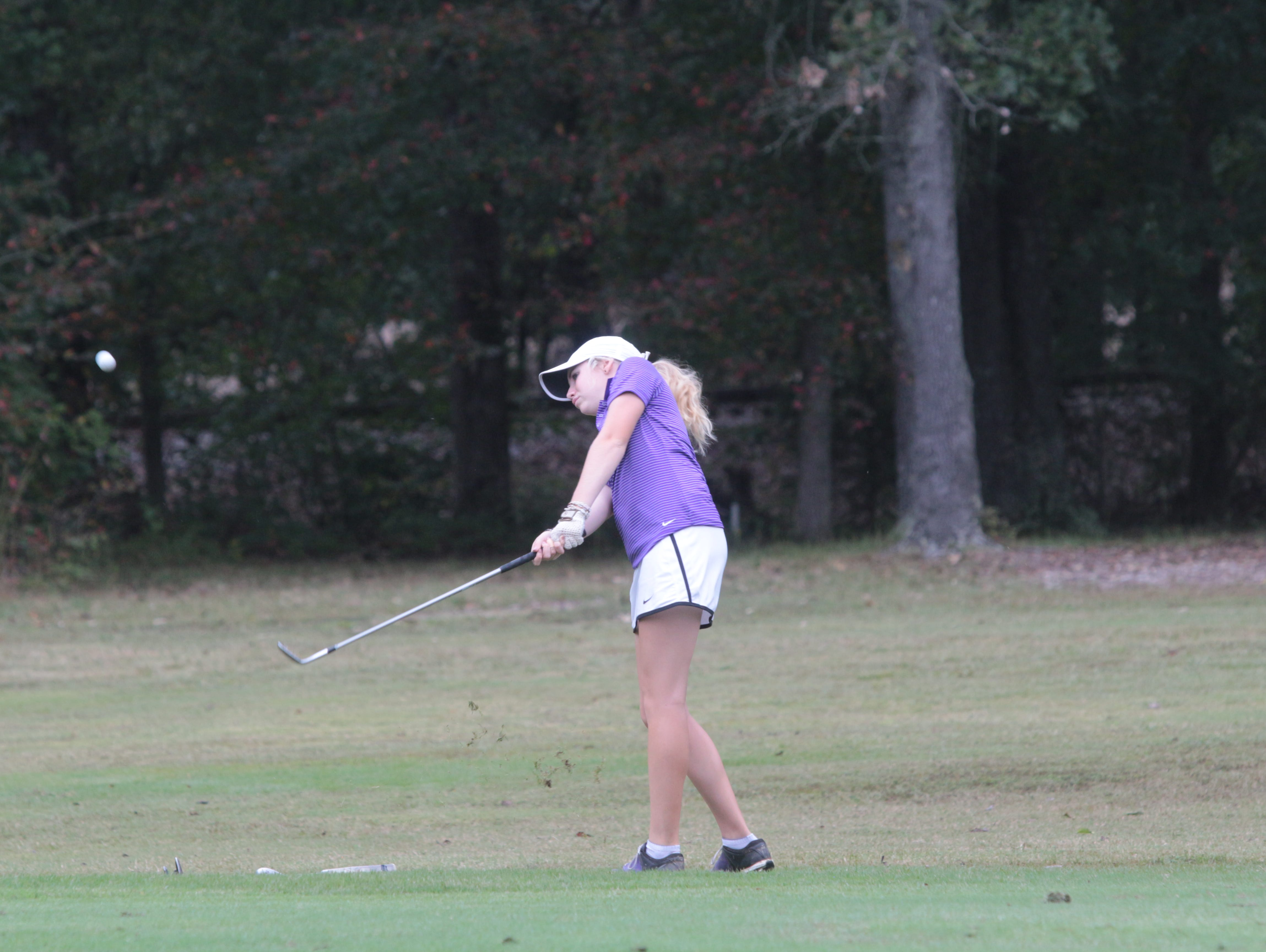 Clarksville High's Breana Smith drills her second shot on the 14th hole during the final round of the Class 3A girls state golf tournament at WillowBrook Golf Course in Manchester Wednesday.