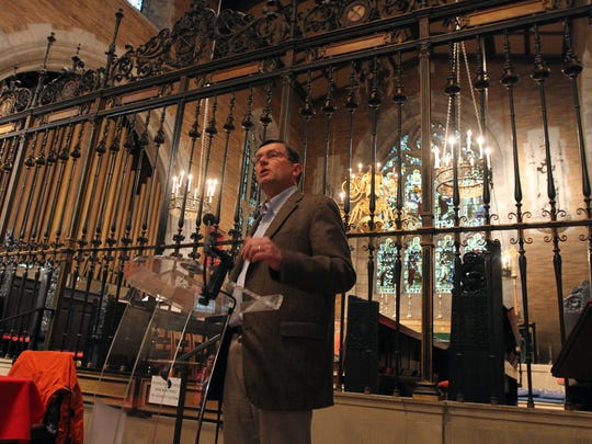 Pulitzer winning author author Edward J. Larson, speaks about his book, The Return of George Washington at St Peter's Episcopal Church as part of the 2015 Festival of Books, celebrating the power of the written word venues hosting more than 25 author talks and book signings in downtown Morristown. October 3, 2015, Morristown, NJ.