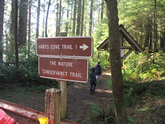 A sign points to Harts Cove Trail.
