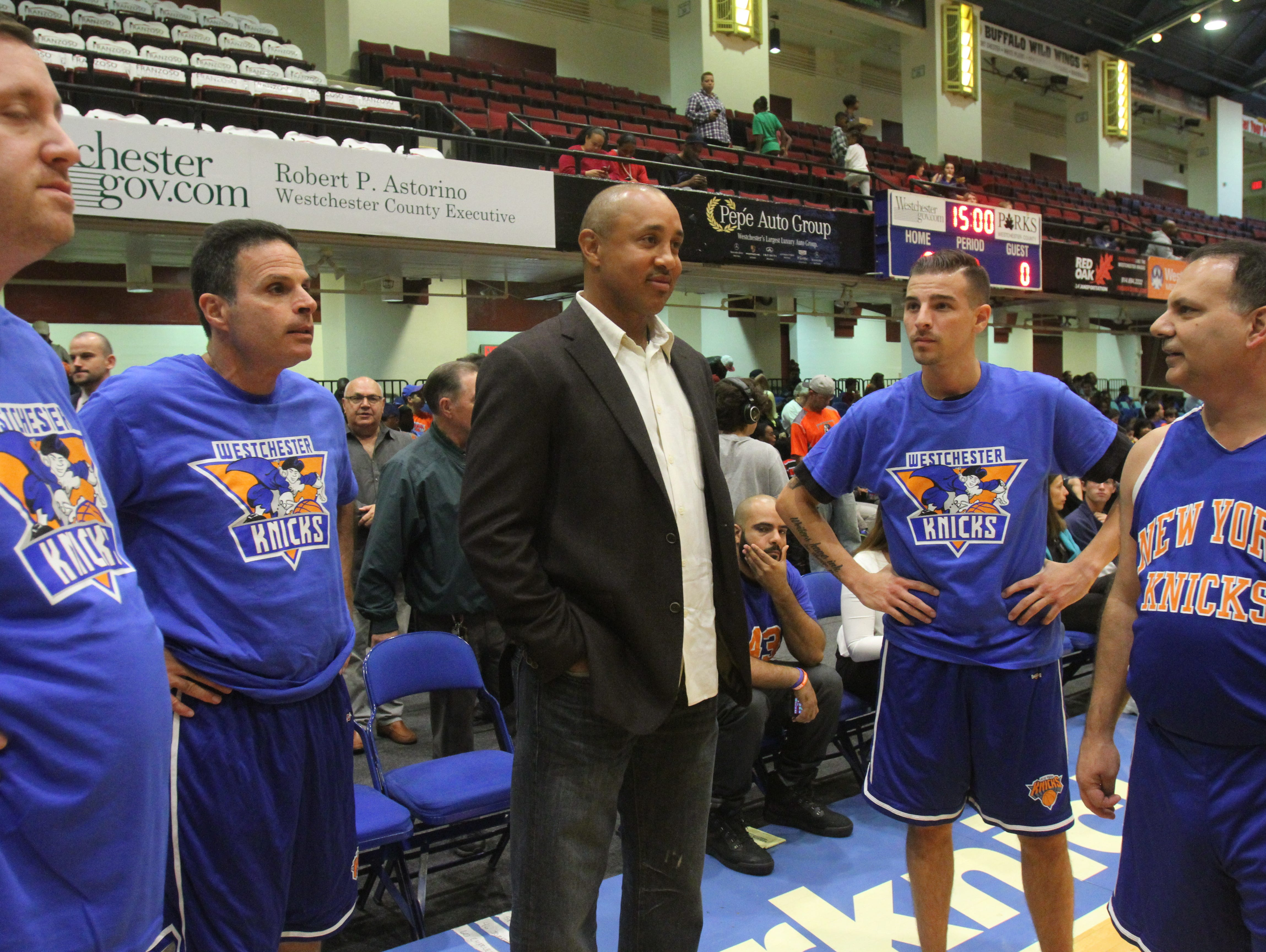Former Knick John Starks was a guest coach in a Local Celebrity Game during the Westchester Knicks Open House for fans at the Westchester County Center in White Plains Oct. 6, 2015.