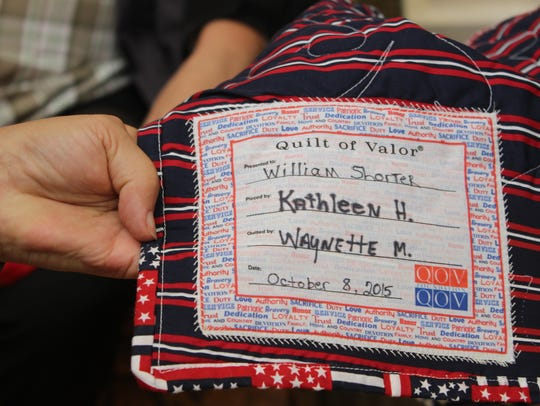 The patch, seen here, is sewn on to each quilt the