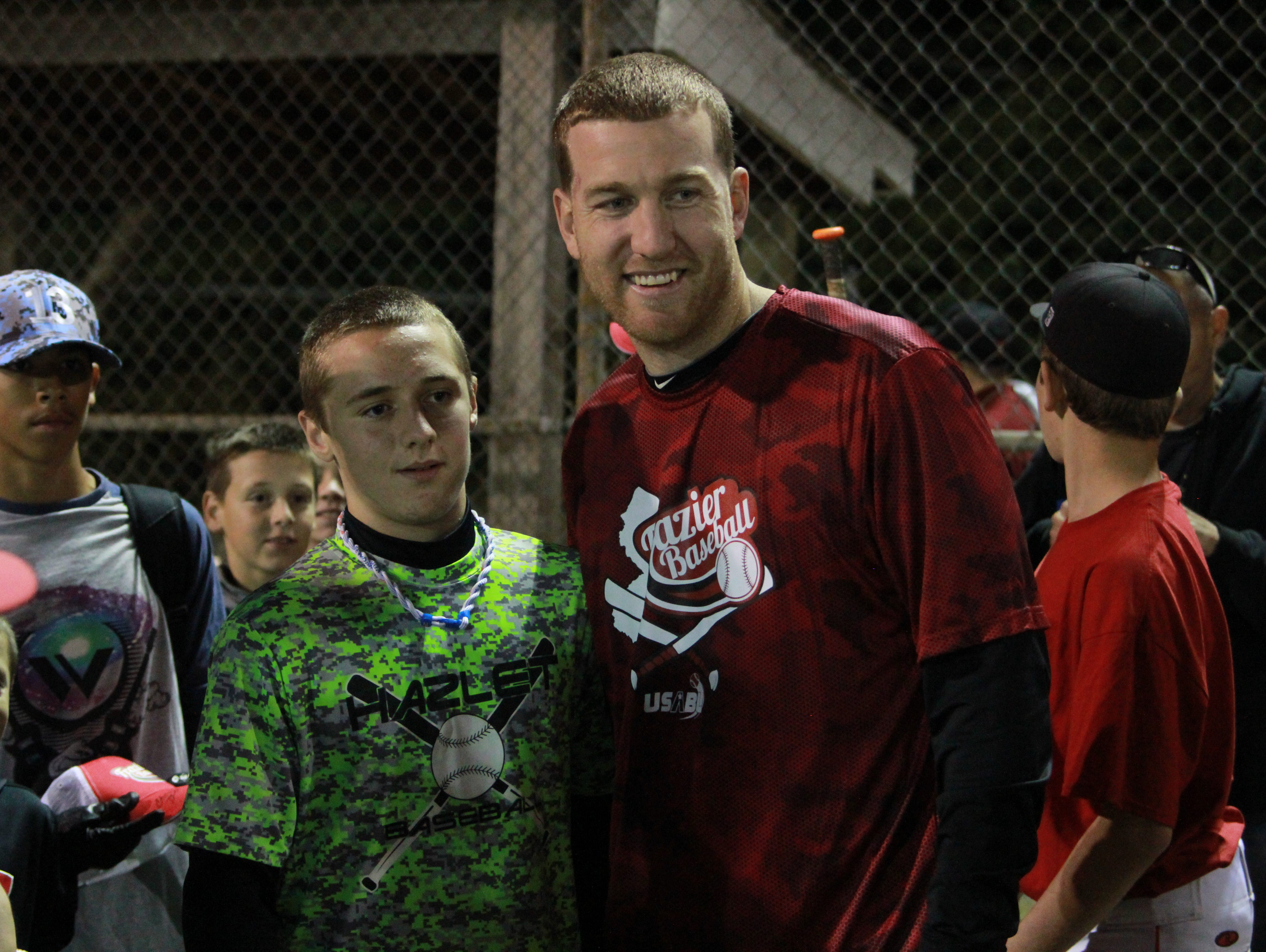 Todd Frazier takes photos and signed autographs with little leaguers at a Manasquan clinic on Monday.