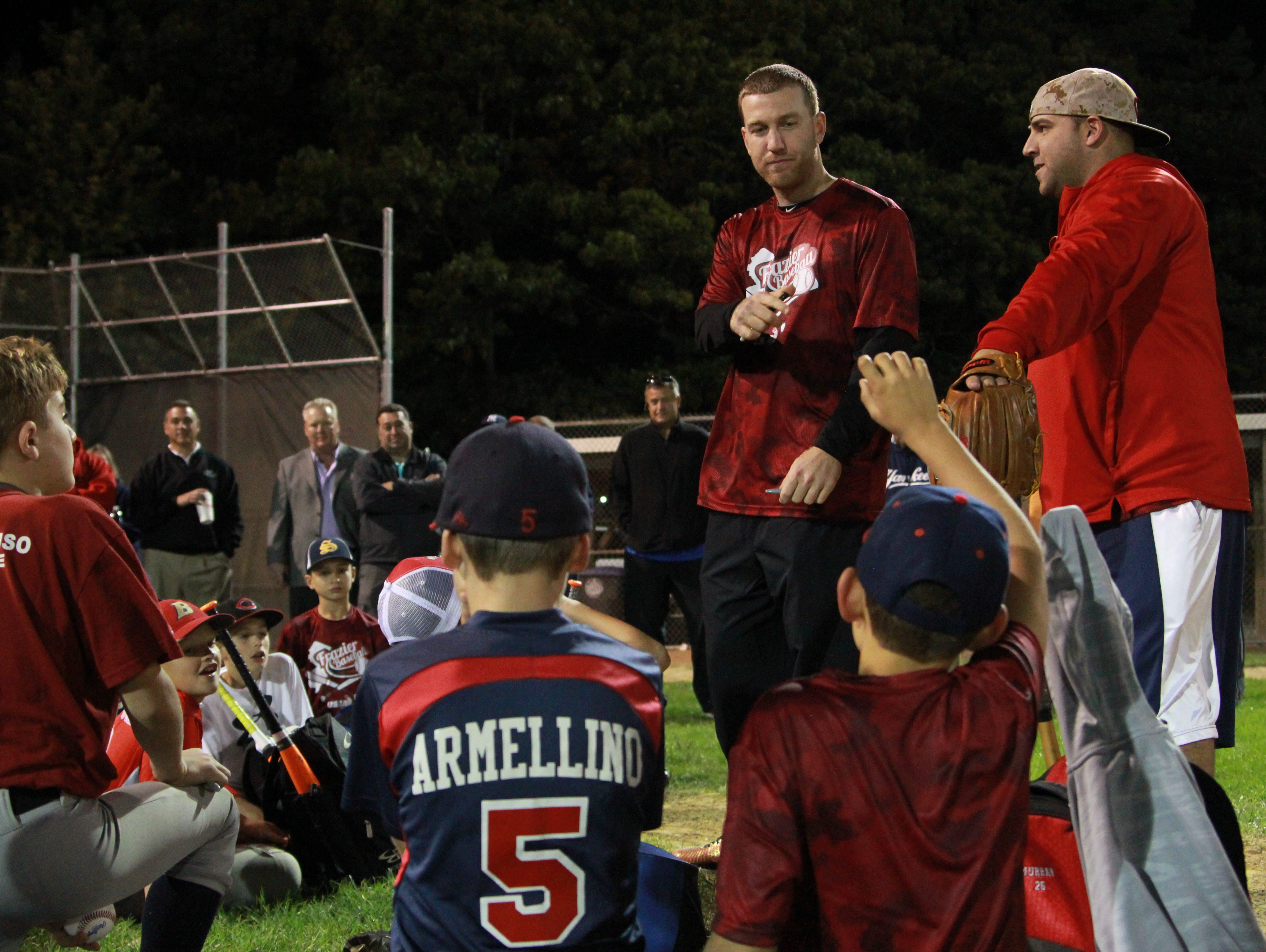 Todd Frazier spoke with and took questions from little leaguers at a clinic in Toms River on Monday.