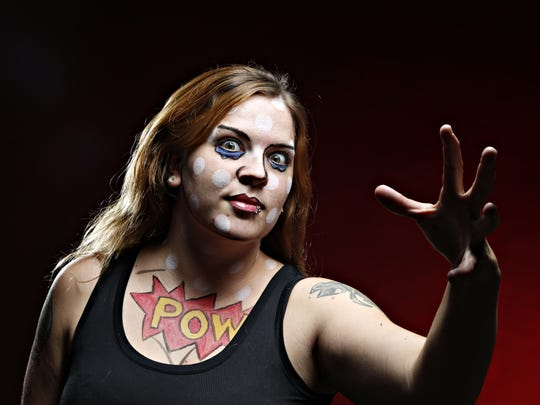 Chandra Brill, 29, models pop art makeup.