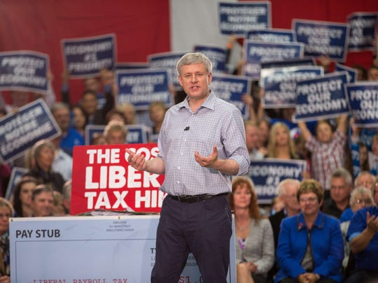 Canadian Prime Minister Stephen Harper speaks to supporters