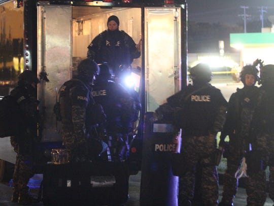 Clarksville Police tactical team officers at the scene