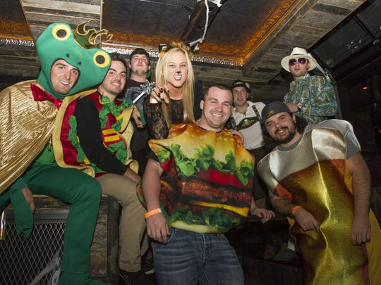 Bryce Dreifuss, Matt Houlihan, Mickey Platt, Tom Minnick, DM Selb, Joe DeSimone, Dan DeSimone and Kim Reich celebrate Halloween at the The Monster's Block Party at El Hefe and Dierks Bentley's Whiskey Row in Tempe on Oct. 31, 2015.