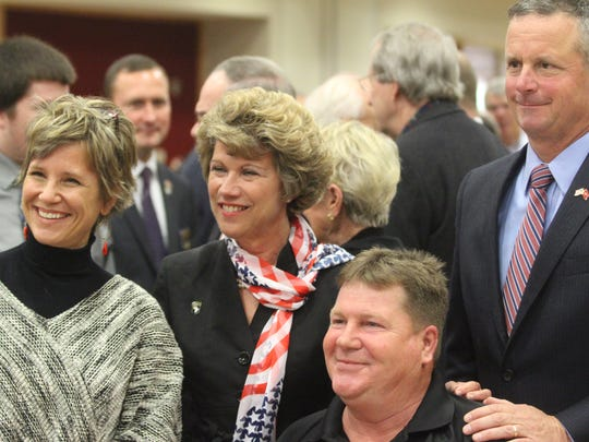 From left to right, Laura Schroeder, Clarksville Mayor