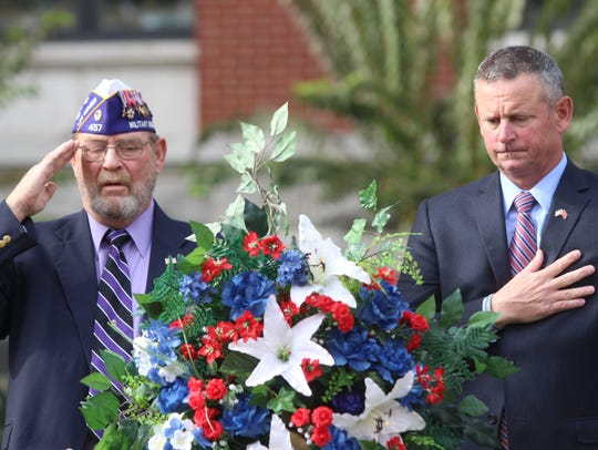 Retired Army 1st Sgt. David Ross, left, and Montgomery
