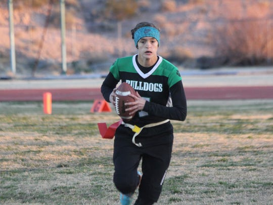 Kallie Graves runs for yardage  during a game last season for the Lady Bulldogs. Virgin Valley capped a busy weekend by going 2-1 and winning the consolation game of the Lady Longhorn/Lady Bulldog Invitational on Saturday at Legacy High School in North Las Vegas.