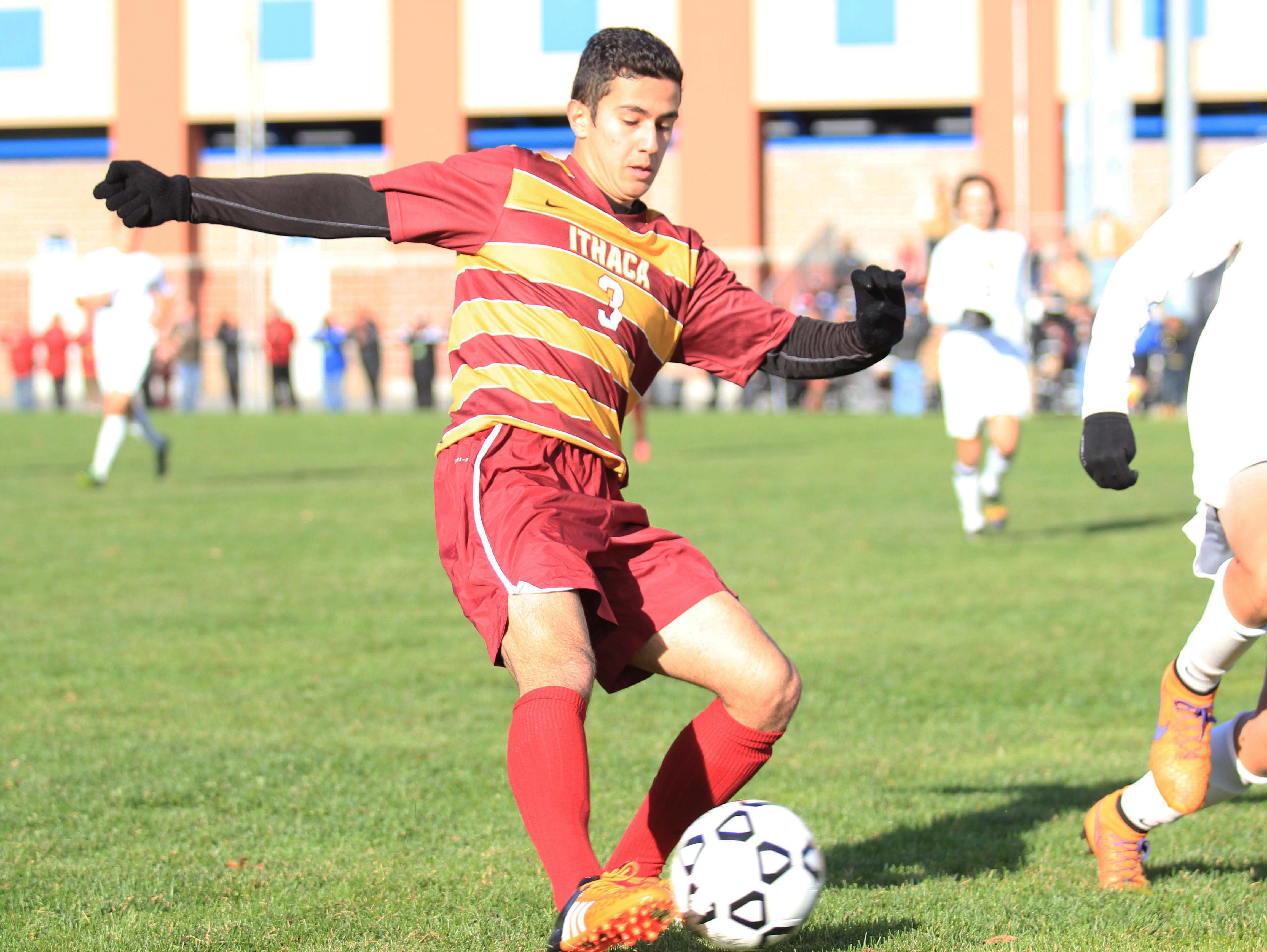 Ithaca's Sohrab Memarzadeh dribbles with the ball during the NYSPHSAA semi final in Middletown, NY