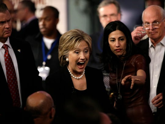 Hillary Rodham Clinton reacts to audience after a Democratic