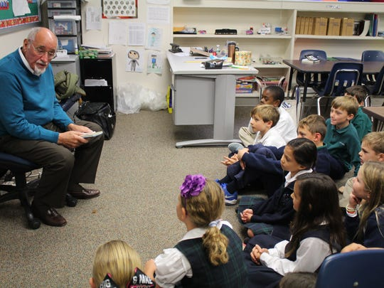 Robert Manna, a U.S. Army veteran and grandfather of Lower School teacher Michael Manna, also spoke to third graders about what his service taught him.