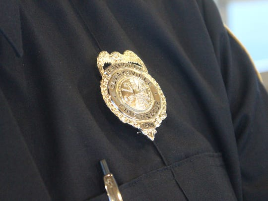 New badge worn by a Clarksville Fire Rescue recruit