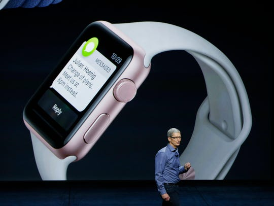 Apple CEO Tim Cook speaks about the Apple Watch during