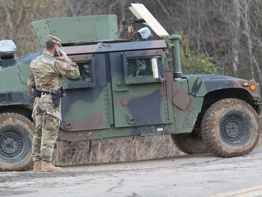 Military Police from Fort Campbell were helping secure