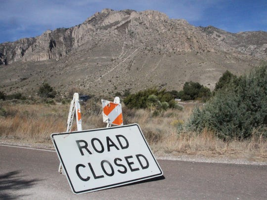 The trail head access road leading to the start of the Guadalupe Peak Trail was closed as federal, state and park crews attempted to locate wreckage.