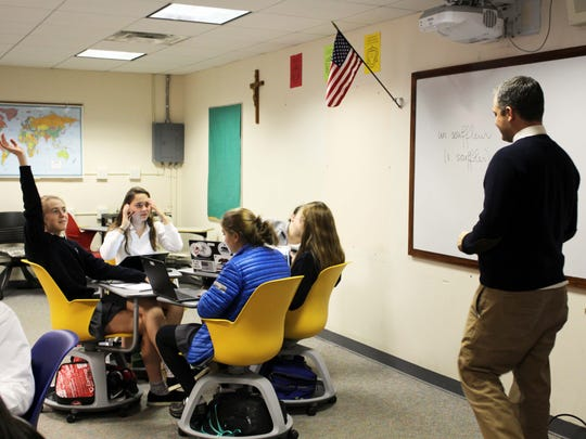 John Petito, Upper School history teacher, utilizes the Node Chairs in his class to provide a dynamic and flexible learning environment for this students at Oak Knoll School of the Holy Child.