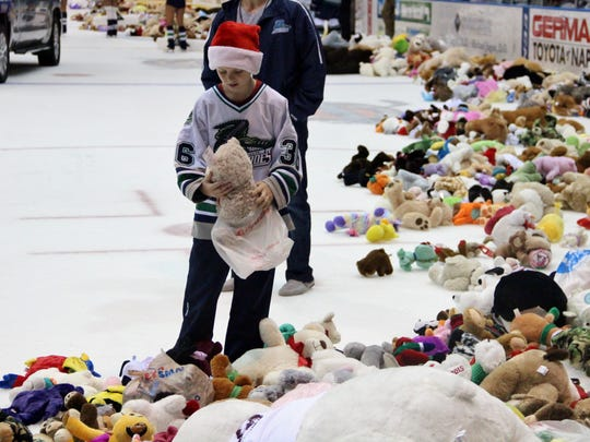 Scenes from Saturday night's Florida Everblades game against the Reading Royals. Fans brought stuffed animals for the annual teddy bear toss. Teddy bears are thrown onto the ice, collected, and given to local hospitals around the Southwest Florida area.