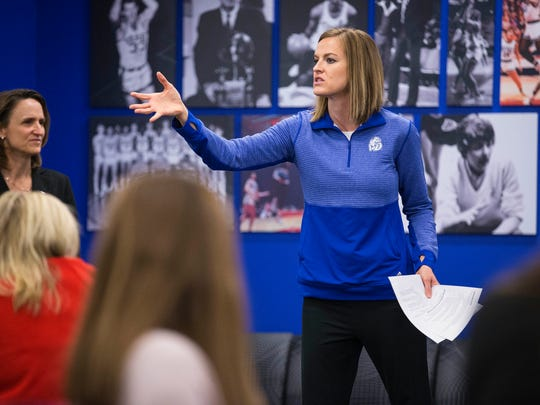 Drake women's basketball coach Jennie Baranczyk speaks