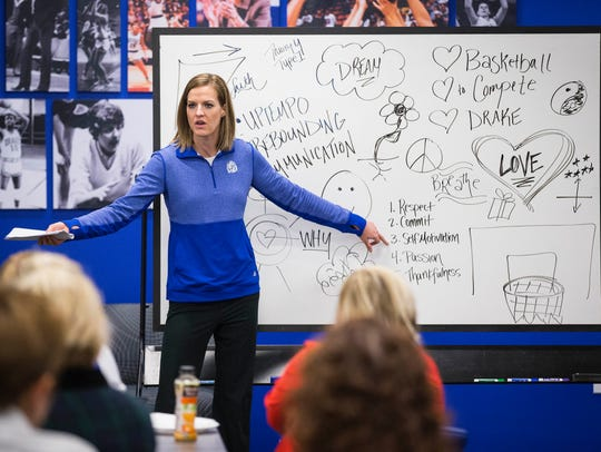 Drake women's basketball coach Jennie Baranczyk speaks