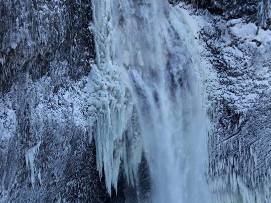 Icicles form around Salt Creek Falls. Photo taken Jan. 15, 2013.