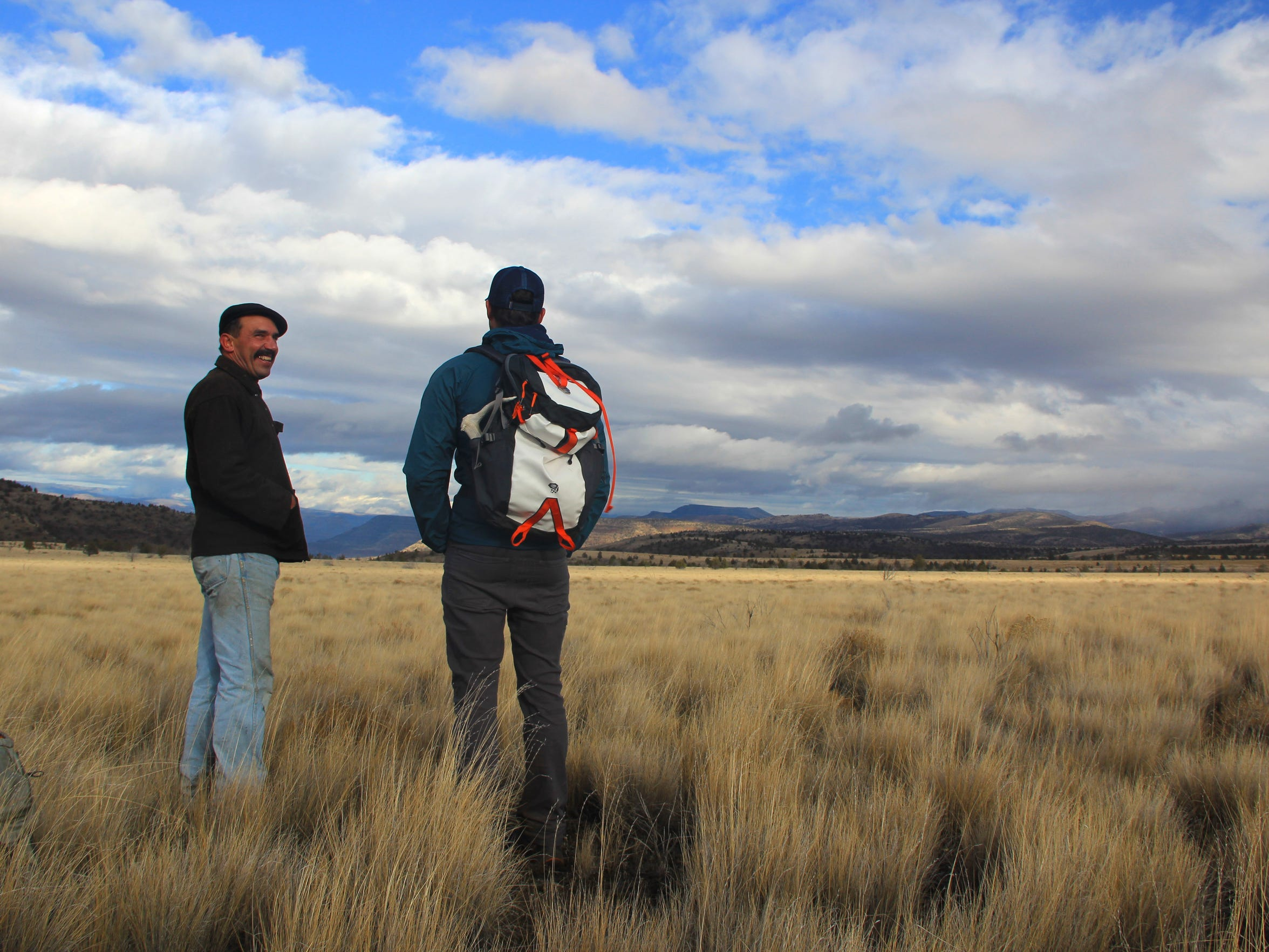 Wheeler County judge Chris Perry, left, and Ben Gordon, ONDA stewardship director, on the plateau of Eastern Oregon's Sutton Mountain.