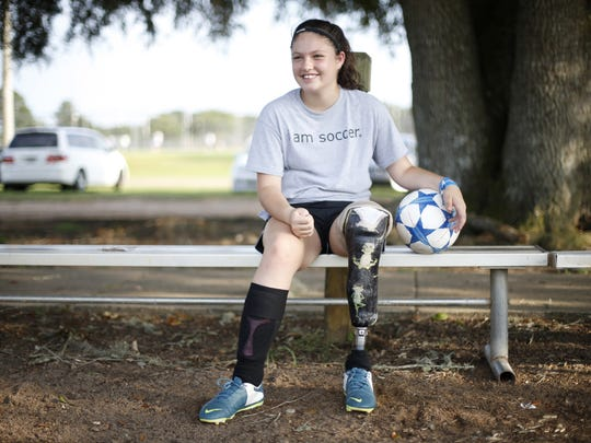 Erica Silvey, 13, has been playing soccer since she was five on a prosthetic that she has used nearly all of her life after having her leg amputated as an infant.