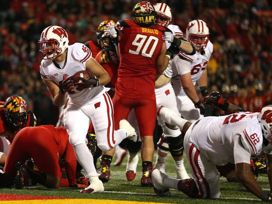 Wisconsin running back Alec Ingold scores a touchdown