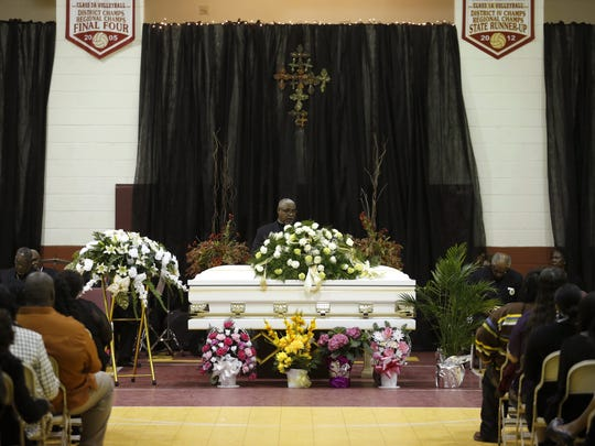 Nearly 200 people gather at the Liberty County High School Gymnasium in Bristol for Barbara Dawson's funeral on Saturday, Jan. 2, 2016.