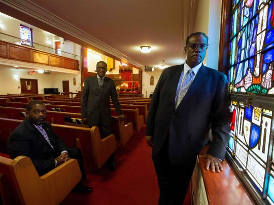 The Rev. Christopher Curry, of Ezion Fair Baptist Church, from left, the Rev. Lester Justice, of Simpson United Methodist Church, and the Rev. Sylvester Beaman, of Bethel AME Church, are shown. They are part of an effort examining allegations of racism in state government. A meeting with Gov. Jack Markell is planned Wednesday.