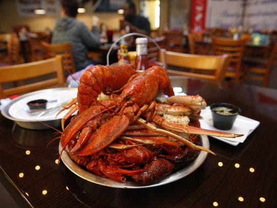 The Super Boil, with two lobsters, snow crab, shrimp and crawfish, on the menu at Wahoo Seafood Grill.