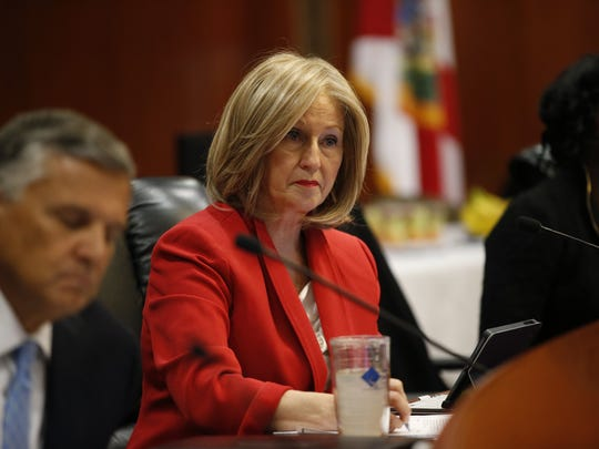 Commissioner Pam Stewart listens to speakers during a Florida Department of Education board meeting at the Capitol on Wednesday.