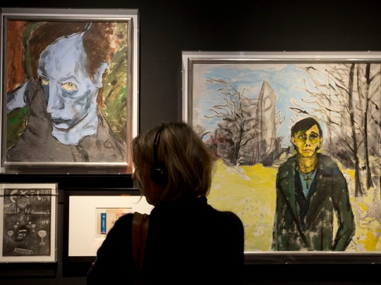 David Bowie's portrait of Iggy Pop (right) is on display at the Groninger Museum in the Netherlands.