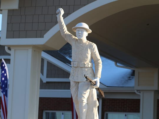 The Doughboy statue, honoring Montgomery County's World War I veterans, stands at the front entrance to the Brig. Gen. Wendell H. Gilbert Tennessee State Veterans home. The statue, vandalized twice, was repaired and has its permanent home outside the property.