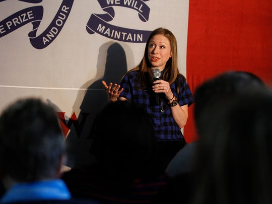 Chelsea Clinton addresses supporters at an event for