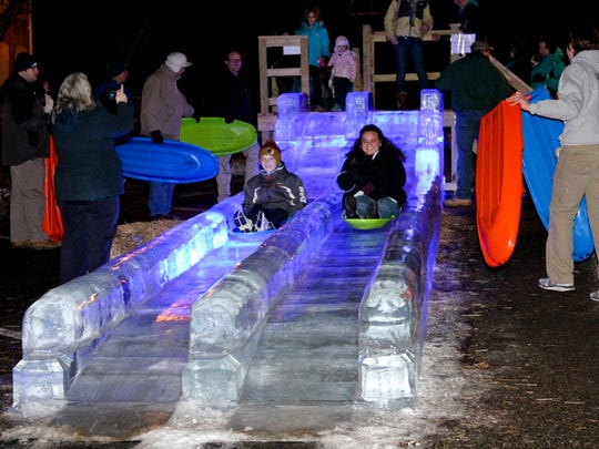 The LED-lit Ice slide is the star of IceFest.