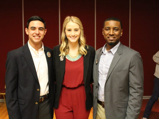 Advance's Executive slate pictured from left to right: Presidential candidate Nathan Molina, Vice Presidential Candidate Valerie Shallow, and Treasurer candidate Lee Gibson.
